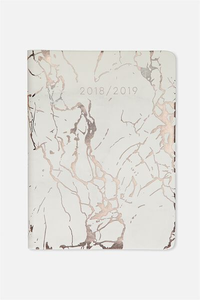 Hidden Spiral Planner 2018 19, WHITE & ROSE GOLD MARBLE