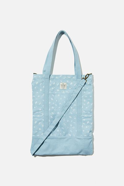 Book Tote Bag, DOTTIE FLORAL HYACINTH