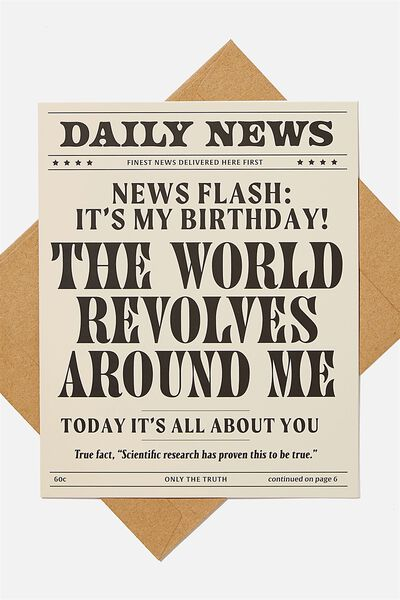 Funny Birthday Card, WORLD REVOLVES AROUND ME DAILY NEWS