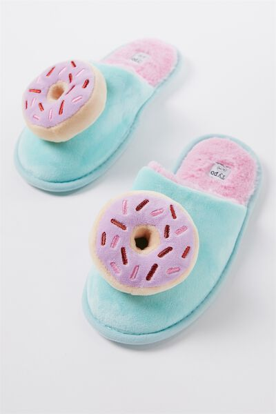 Novelty Slippers, PINK DONUT