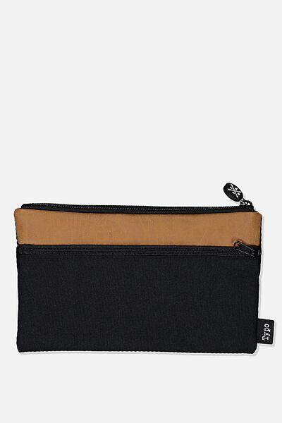 Archer Pencil Case, BLACK AND TAN