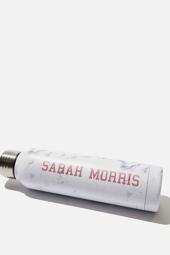 Personalised 350ml Small Metal Drink Bottle, MARBLE