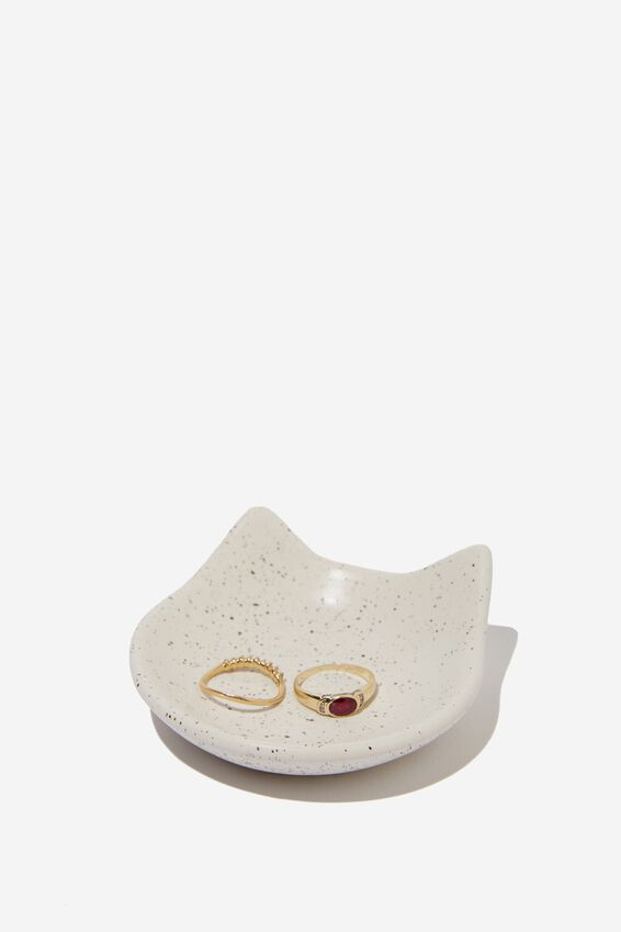 Small Trinket Tray, WHITE SPECKLED CAT HEAD