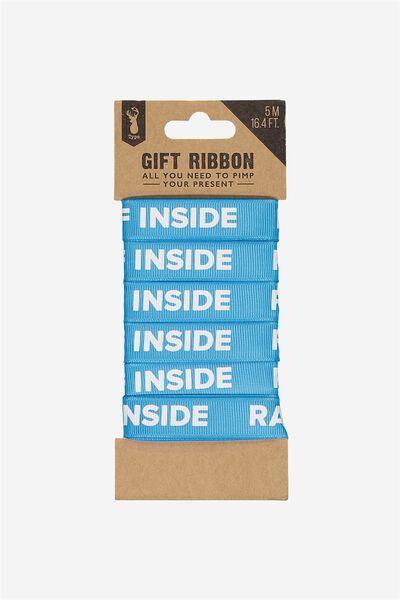 Printed Gift Ribbon, AQUA BLUE