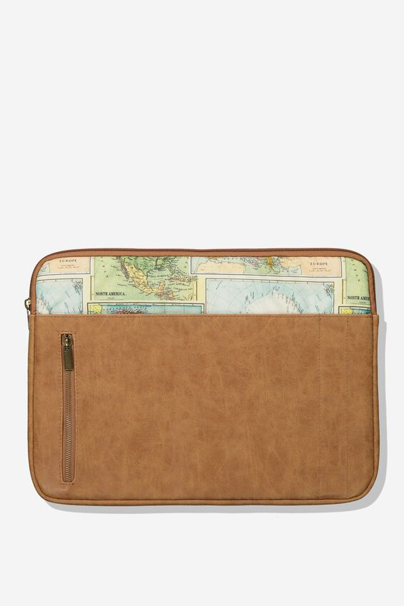 """Take Charge Laptop Cover 15"""", VINTAGE MAP"""