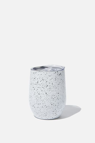 Metal Travel Tumbler, BLACK & WHITE SPLATTER