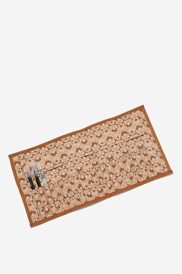 Roll With It Brush Case, CHECKERBOARD DAISY CLAY