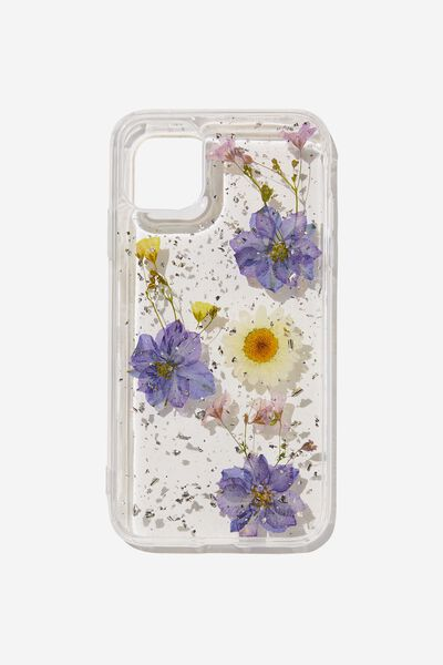 Protective Phone Case iPhone 11, PURPLE & DAISY PRESSED FLOWER