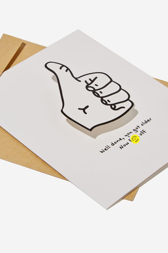 Premium Funny Birthday Card, BOBBLE THUMBS UP FUCK OFF!!