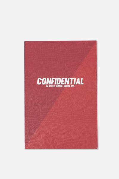 """A5 Textured Notebook (8.27"""" x 5.83""""), RED CONFIDENTIAL"""