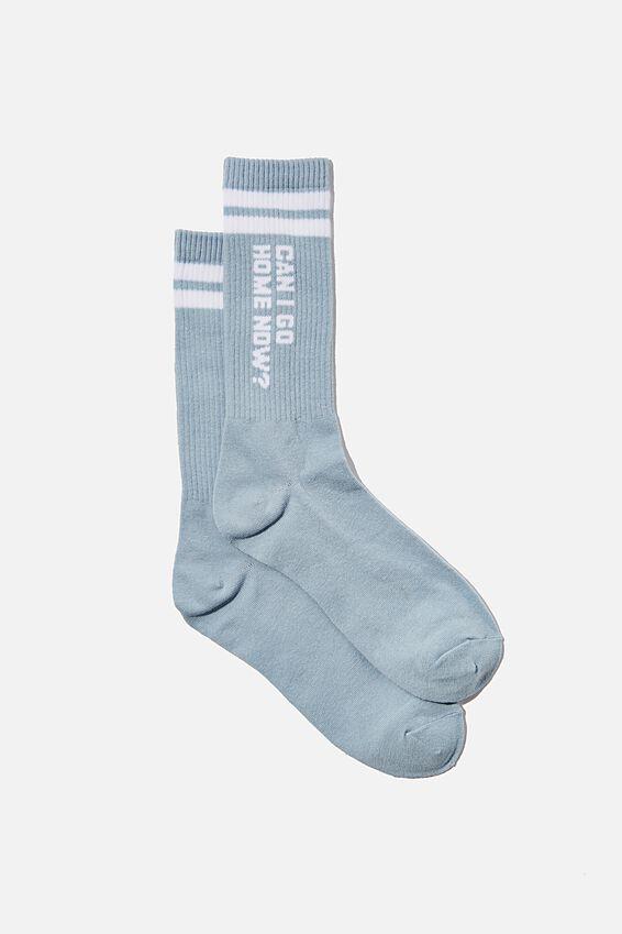 Socks, CAN I GO HOME NOW DENIM BLUE