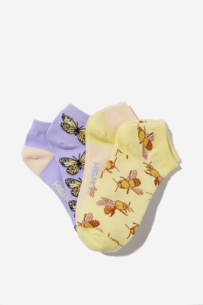 4 Pack Of Ankle Socks, BEES & BUTTERFLIES HIGH VIBES (S/M)