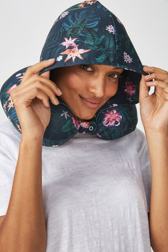 Hooded Travel Neck Pillow, JUNGLE FLORAL