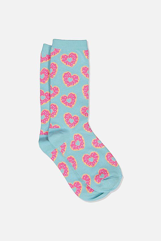 Womens Novelty Socks, HEART DONUTS BLUE