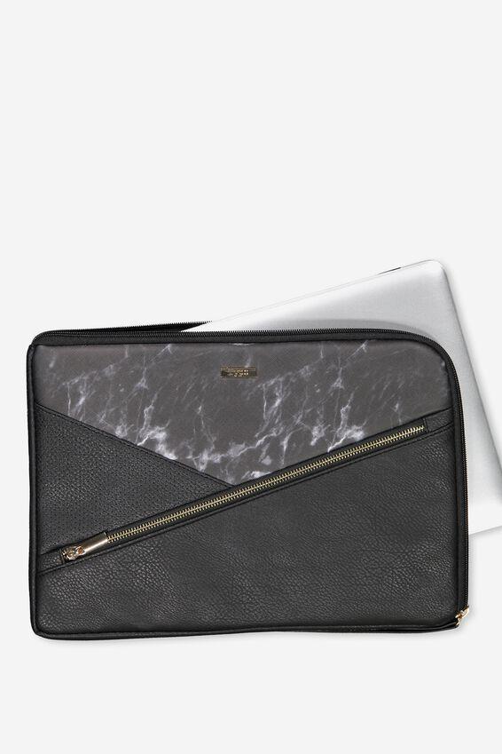 Premium Laptop Case 13 inch, BLACK MARBLE SPLICE
