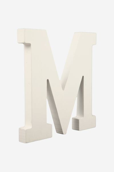 Letterpress Wooden Letter, WHITE M