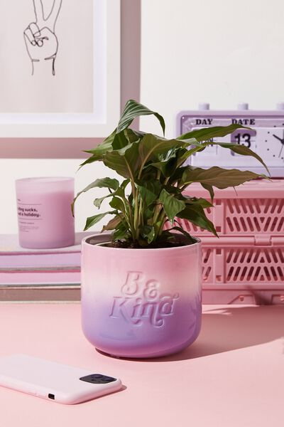 Midi Shaped Planter, BE KIND PALE LILAC OMBRE