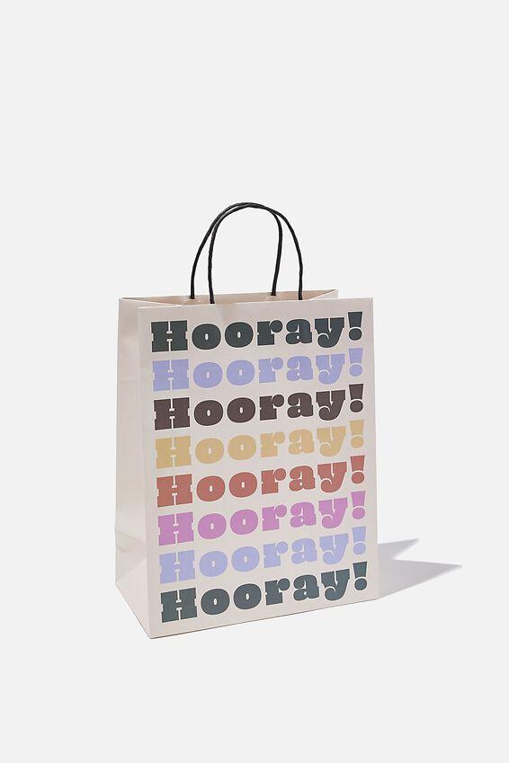 Get Stuffed Gift Bag - Medium, HOORAY MULTI COLOUR REPEAT