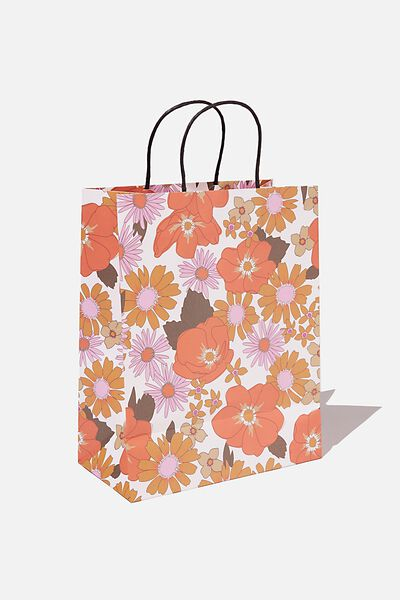 Get Stuffed Gift Bag - Medium, PINK ORANGE STEVIE FLORAL