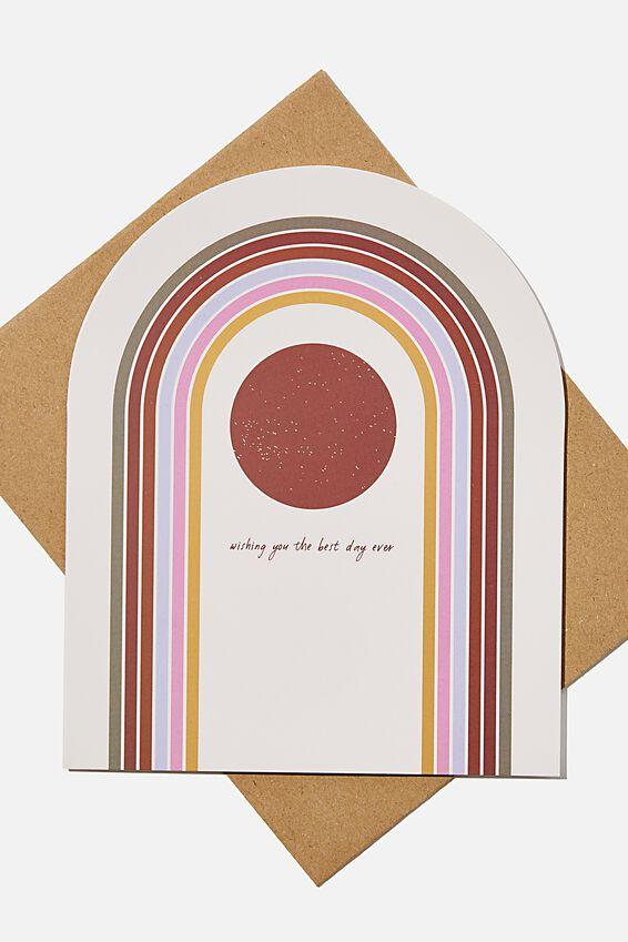 Premium Nice Birthday Card, DIECUT RAINBOW ARCH