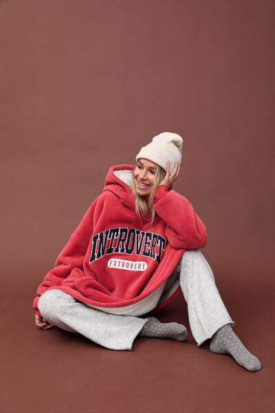 Slounge Around Oversized Hoodie, INTROVERT EXTROVERT