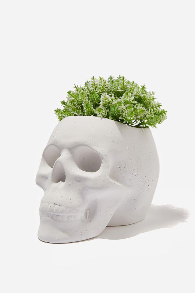 Shaped Planter, WHITE SPECKLE SKULL!