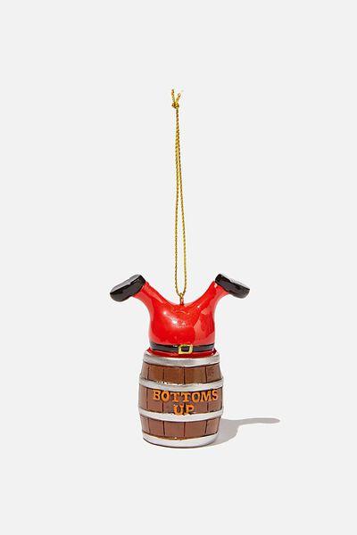 Resin Christmas Ornament, BOTTOMS UP SANTA!