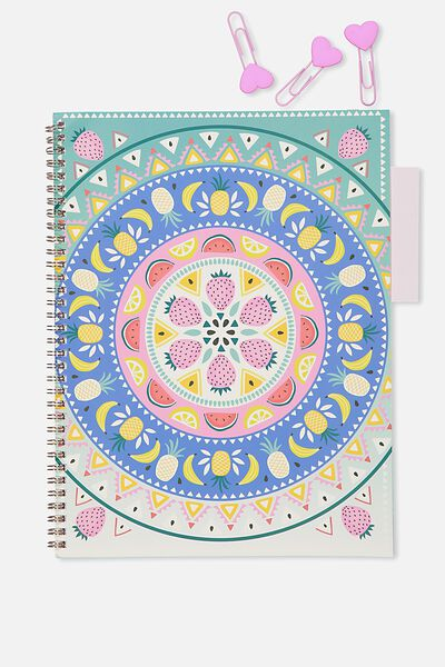 A4 Spinout Notebook - 120 Pages, FRUITY MANDALA