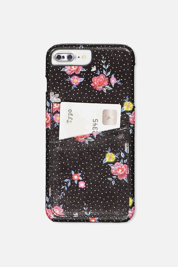 The Cardholder Phone Cover 6,7,8 Plus, BLACK DOTTY FLORAL