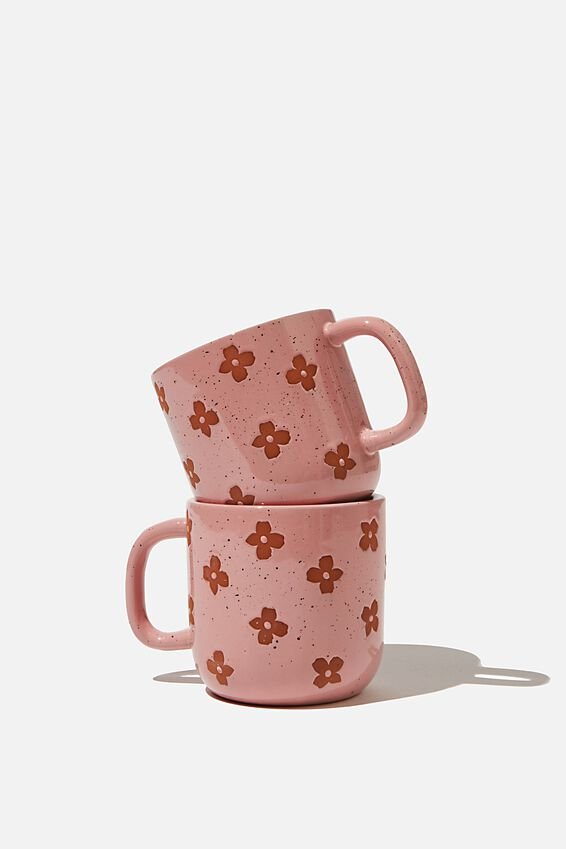2Pk Mug Set, BURNOUT DAISY