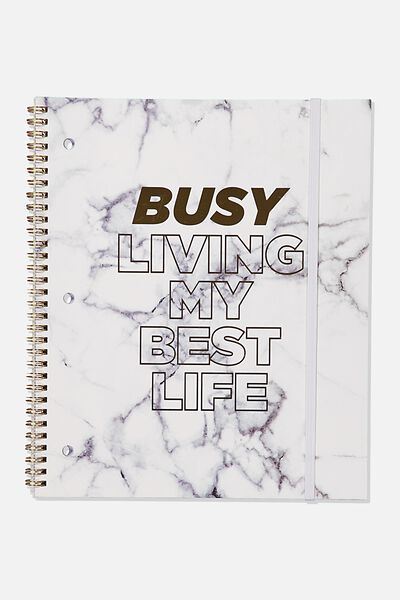 College Ruled Spinout Notebook V, BUSY WHITE MARBLE