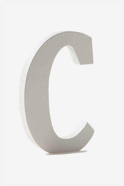Letterpress Wooden Letter, WHITE C
