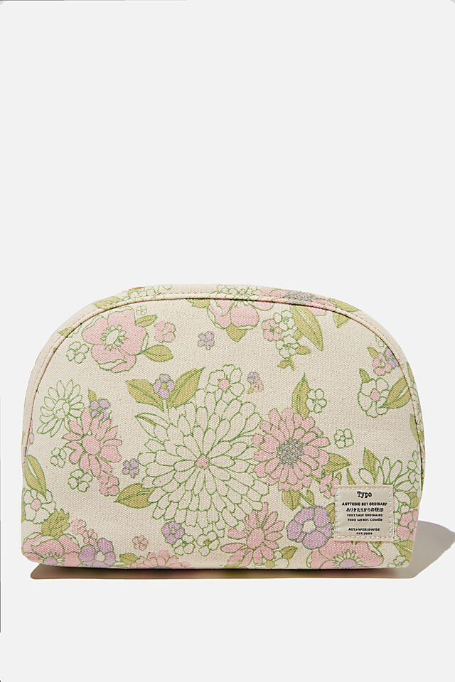 Canvas Essential Pouch, MINT PINK MOLLY FLORAL