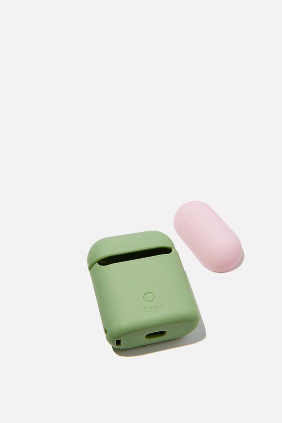 Ear Bud Sleeve, ALLY GREEN & PALE PINK