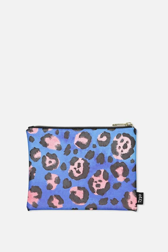 Pu Campus Pencil Case, BLUE LEOPARD