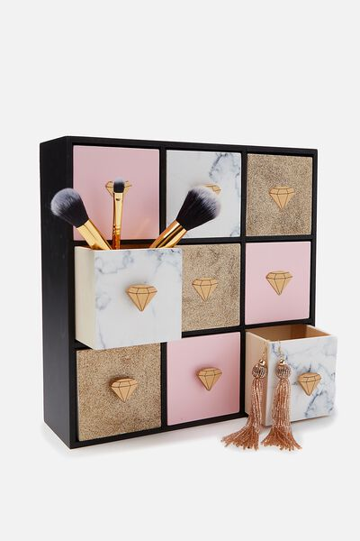 Square Quick Drawer Storage, MARBLE & ROSE GOLD
