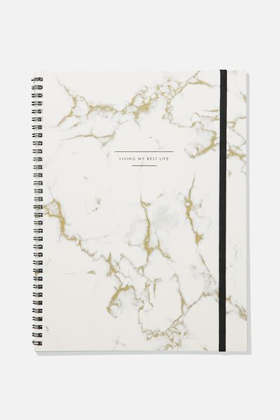 A4 Spinout Notebook - 120 Pages, MARBLE LIVING MY BEST LIFE