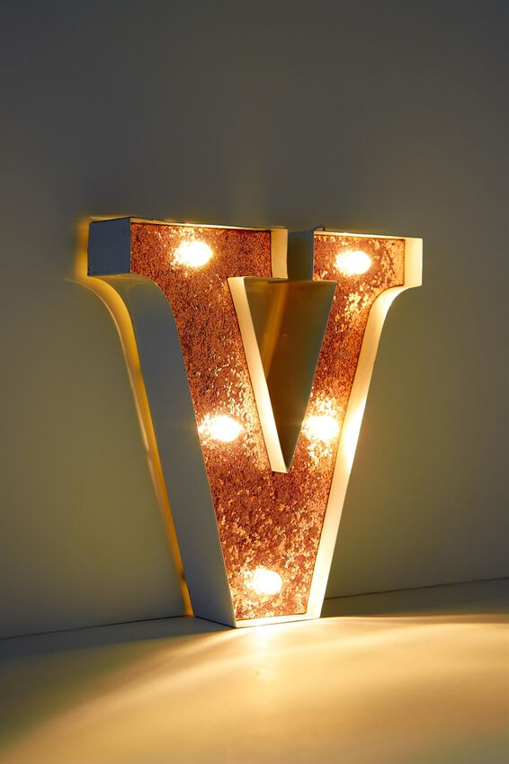 Marquee Letter Lights Premium 6.3inch Midi, WHITE WITH ROSE GOLD V