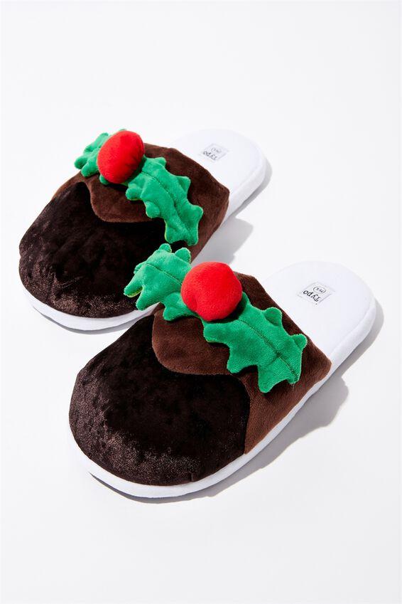 Christmas Novelty Slippers, CHRISTMAS PUDDING