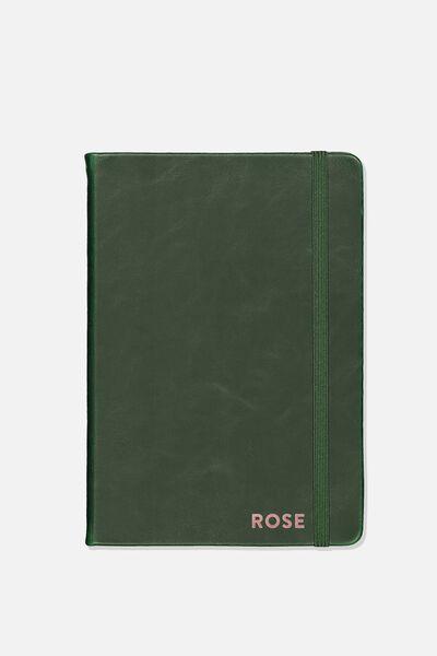 Personalised A5 Buffalo Journal, DEEP GREEN