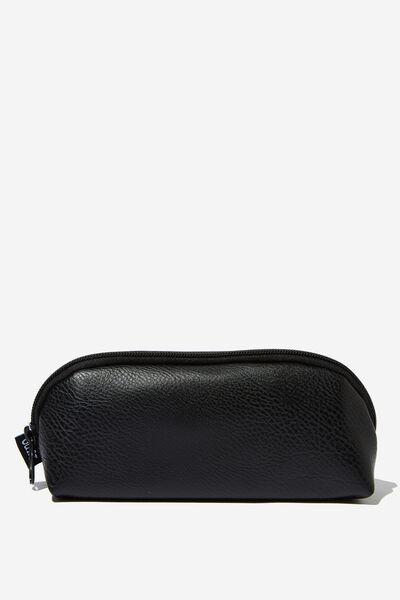 Curved Pencil Case, BLACK PU