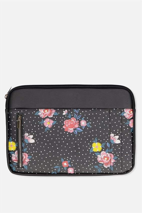 """Take Charge Laptop Cover 13"""", BLACK DOTTY FLORAL"""