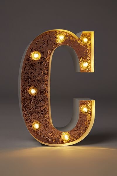 Small Letter Marquee Light, WHITE WITH ROSE GOLD GLITTER C