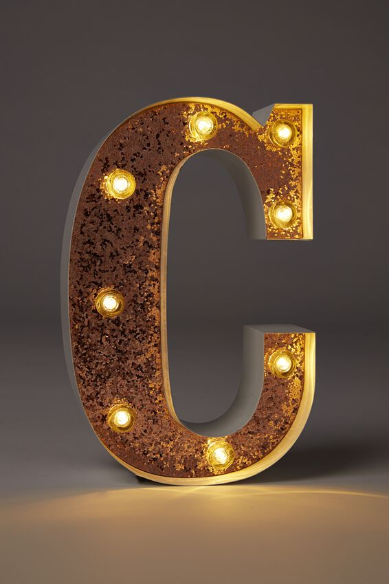 Small Marquee Letter Lights 23cm, WHITE WITH ROSE GOLD GLITTER C