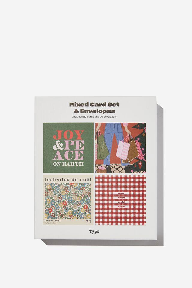 Christmas Card 20 Pack, JOY PEACE CHRISTMAS FLORAL