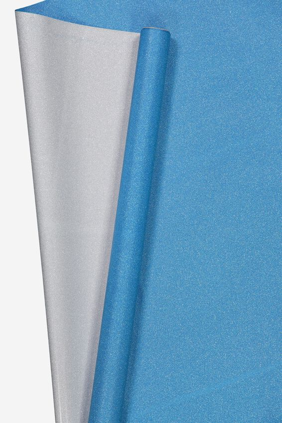 Roll Wrapping Paper, BLUE GLITTER