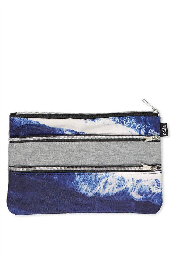 Double Archer Pencil Case, WATER PRINT