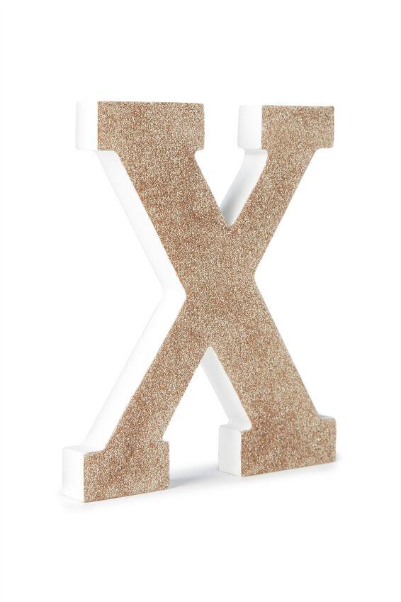 Glitter Letterpress Letter, PALE GOLD GLITTER X