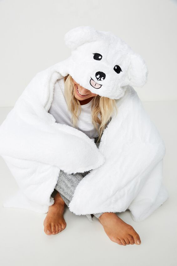 Novelty Hooded Blanket, BOB THE BICHON