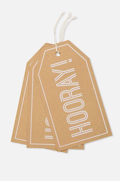 Novelty Gift Tags Set 3, OVERSIZED HOORAY
